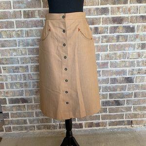 Vintage Koret city blues western midi skirt wool